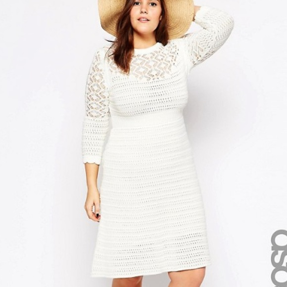 ASOS Curve Dresses & Skirts - ASOS Curve Cream Crochet Dress - Size 14